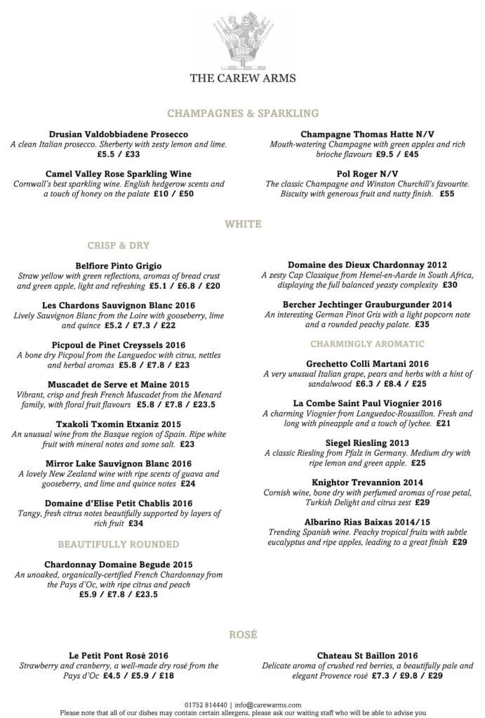 Carew Arms Autumn 2017 Wine List