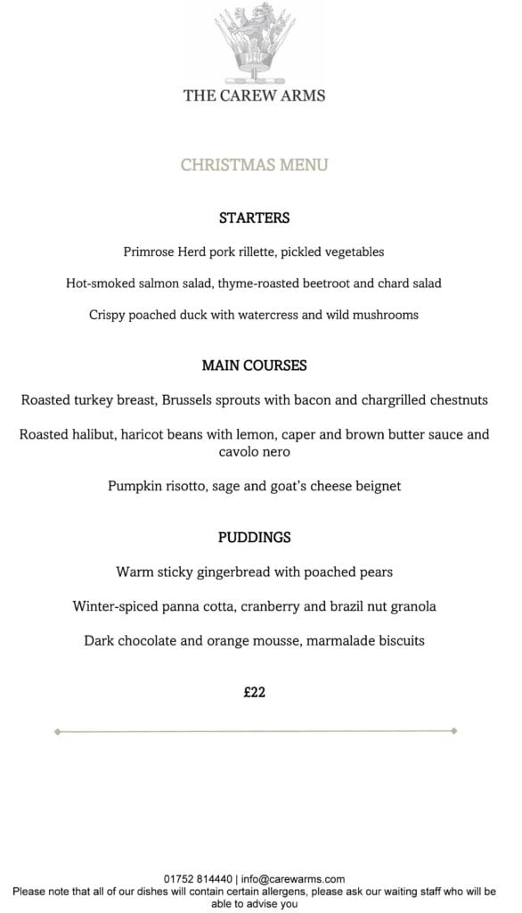 Carew Arms Christmas Menu