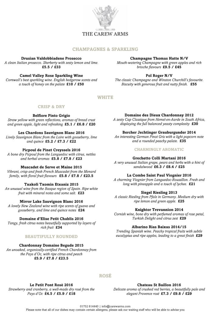 Carew Arms Autumn 2017 Wine List