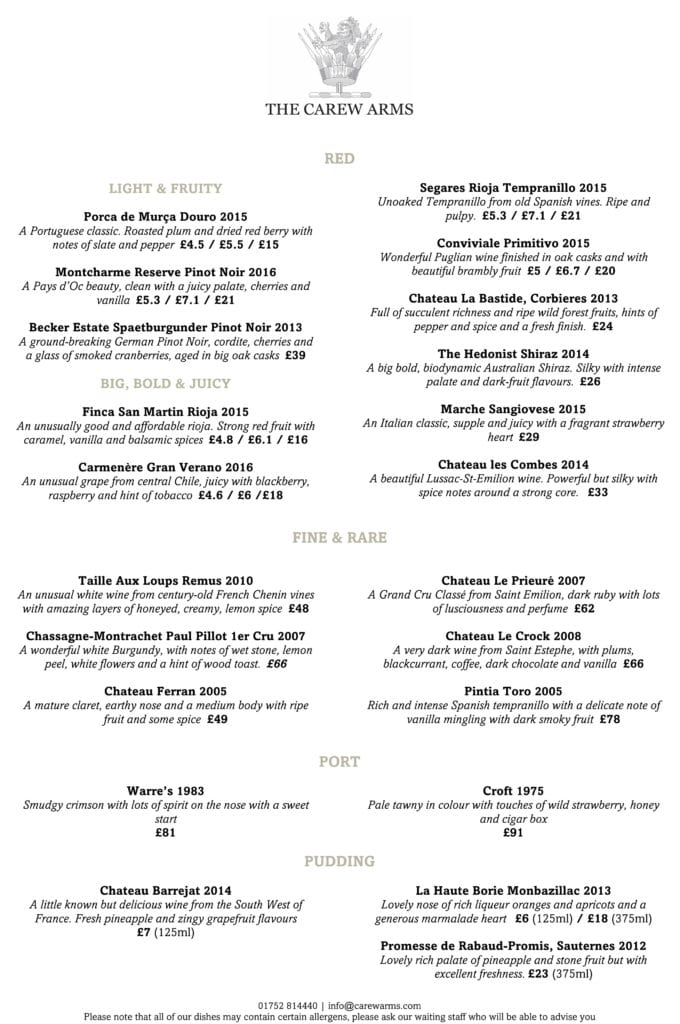 Carew Arms Autumn 2017 Wine List 2