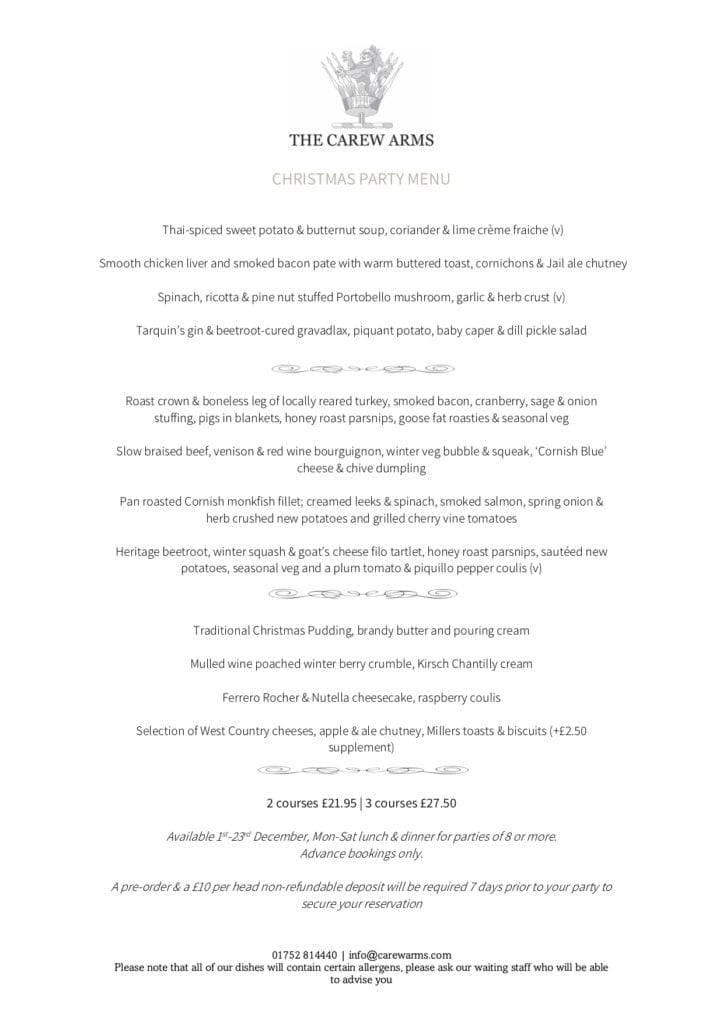 Carew Arms Christmas Party Menu Torpoint